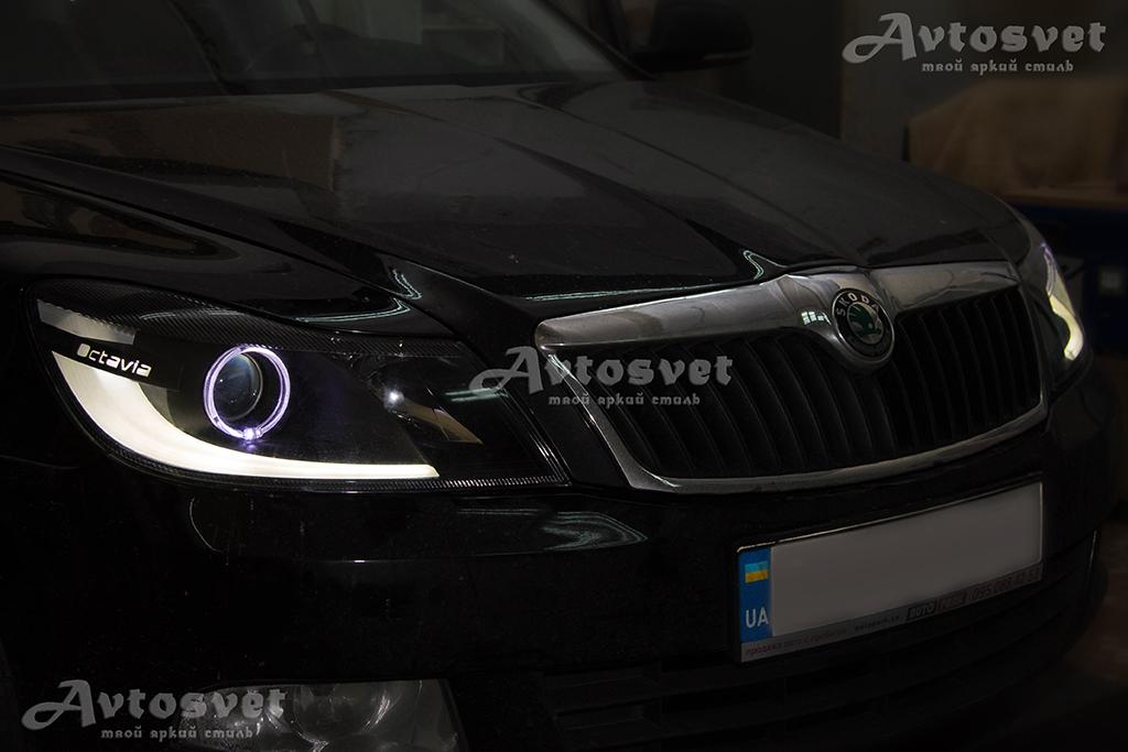 Skoda Octavia фара после, установка ангельских глазок, покраска масок в чёрный мат, LED-подготовка