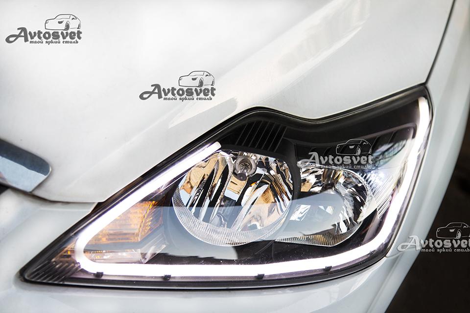 Ford focus: покраска масок в чёрный, установка гибкой ленты (DRL), шлифовка фар снаружи, покрытие защитным лаком