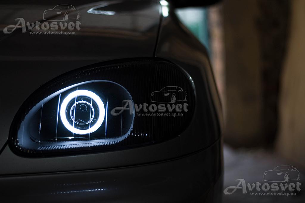 """Daewoo Lanos super black: установка линз с """"ангельскими глазками"""", покраска масок в чёрный мат, замена стёкл"""