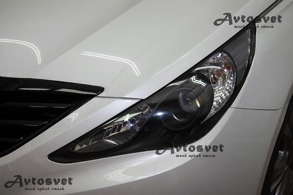 Hyundai Sonata покраска масок фар, покраска решетки