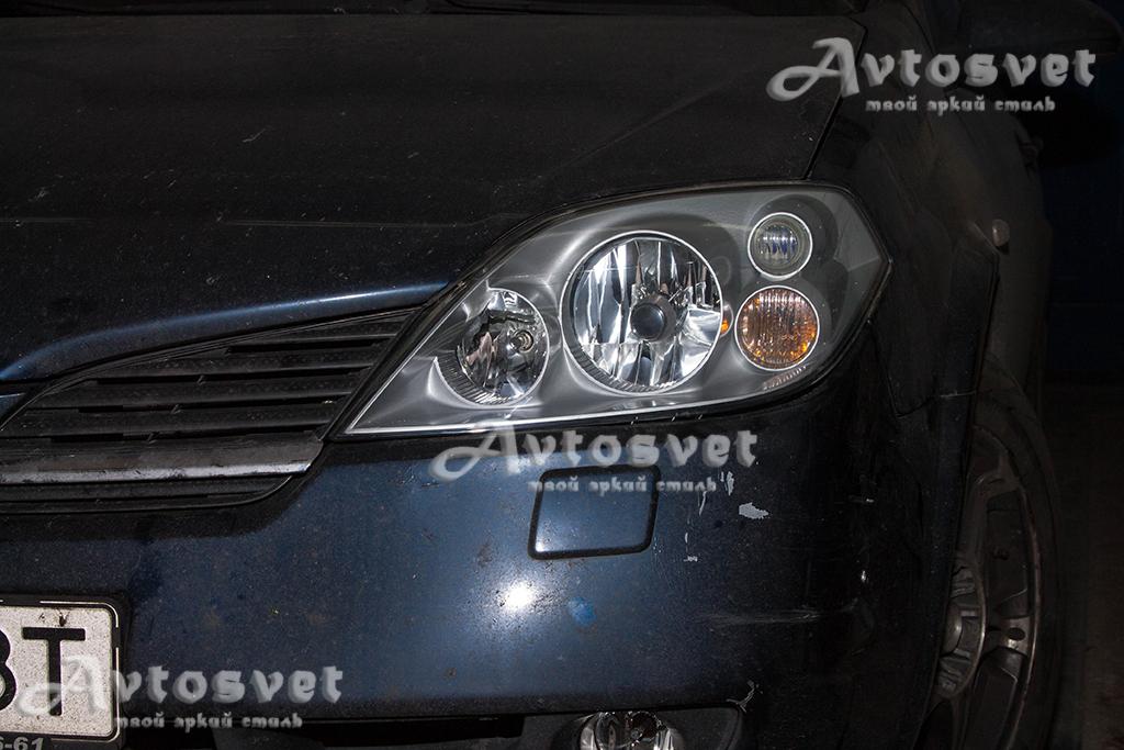Nissan Primera устранение пожелтения, покрытие фар защитным лаком