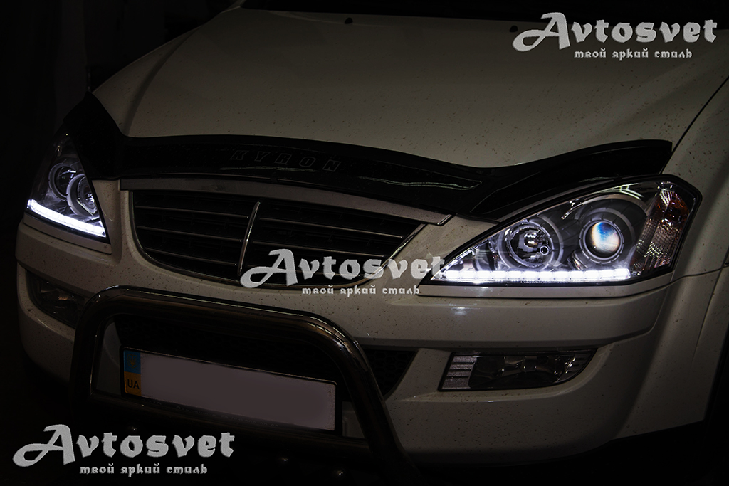 SsangYong Kyron установка ходовых огней Crystal, ДХО, лед-тюннинг, LED - tyning. ремонт оптики авто