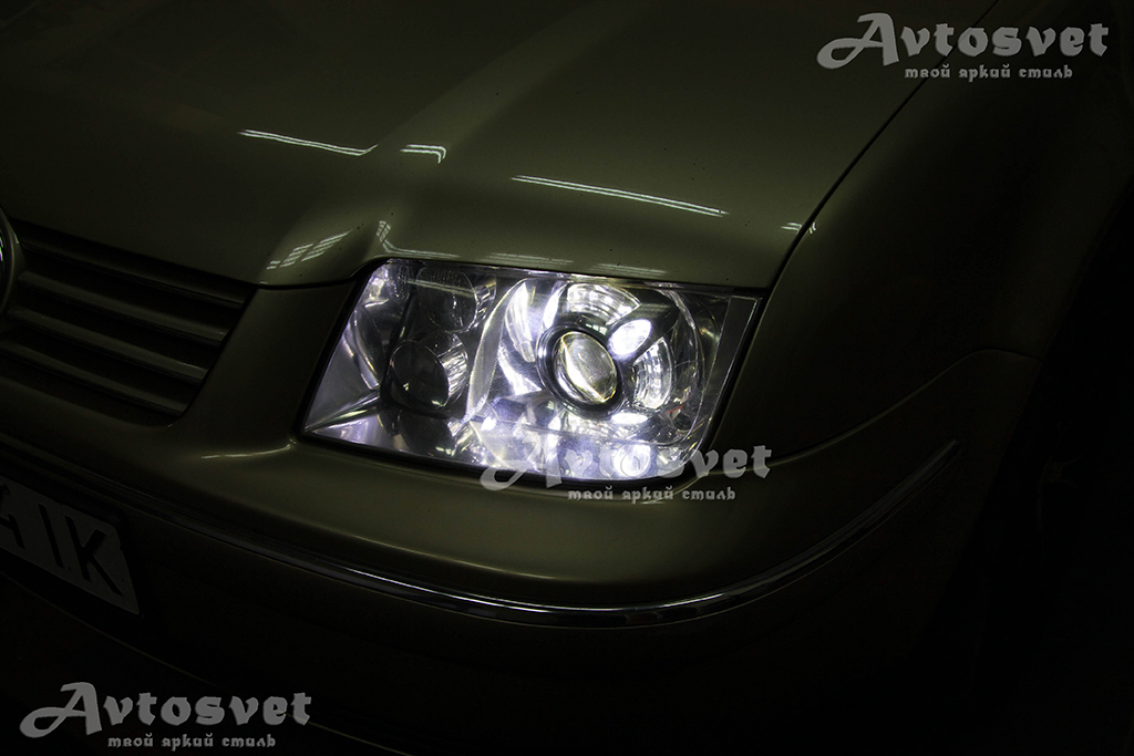 Volkswagen, фара после установки масок Panamera Led Style Cree