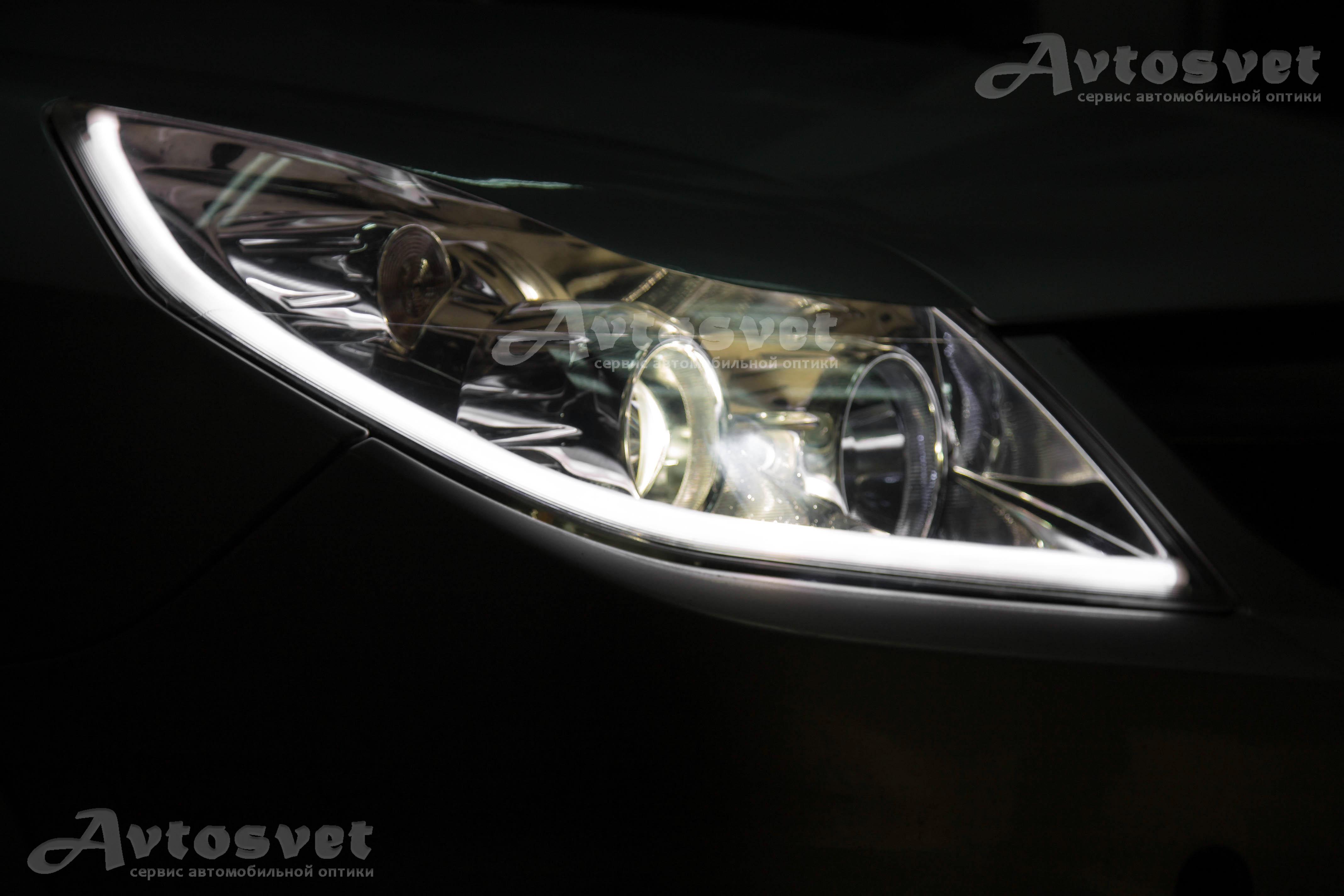 Opel Vectra замена штатной линзы, установка гибкой светодиодной ленты, покрытие фар защитным лаком