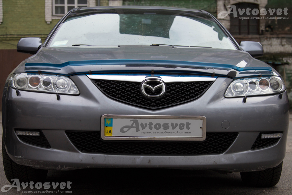 Mazda 6 замена штатной линзы, установка ангельских глаз Led , установка дневных ходовых огней