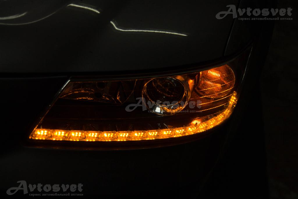 Hyundai Sonata 2007 : установка дневных ходовых огней кристалл с повторителем поворотника