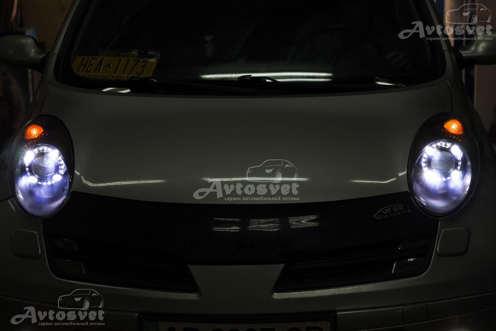 """Nissan micra установка линз 3,0"""" с масками Panamera и восстановление стёкол фар"""